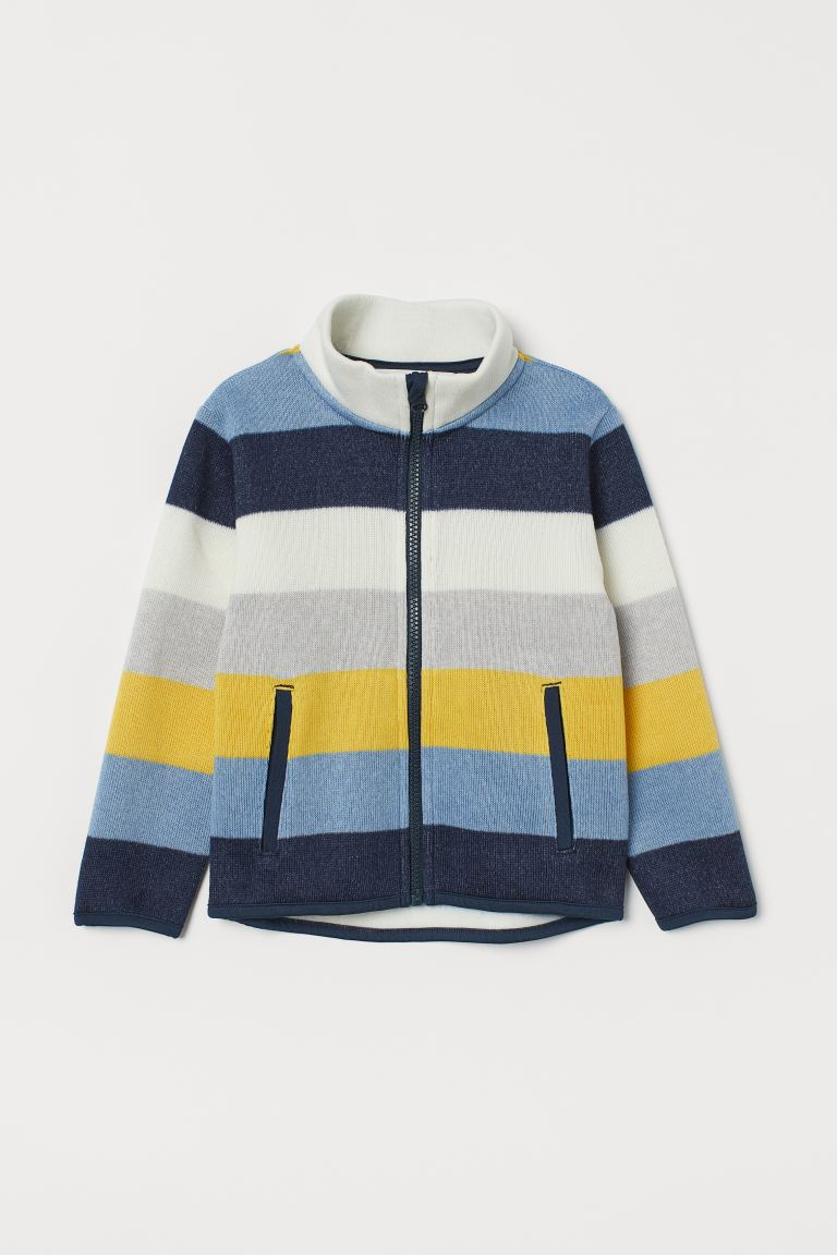 Knit Fleece Jacket - Navy blue/striped - Kids | H&M US