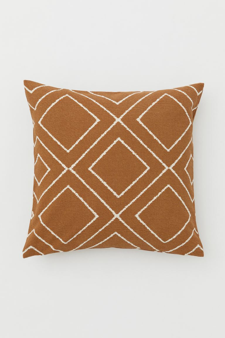 Patterned Cushion Cover - Light brown/white - Home All | H&M US