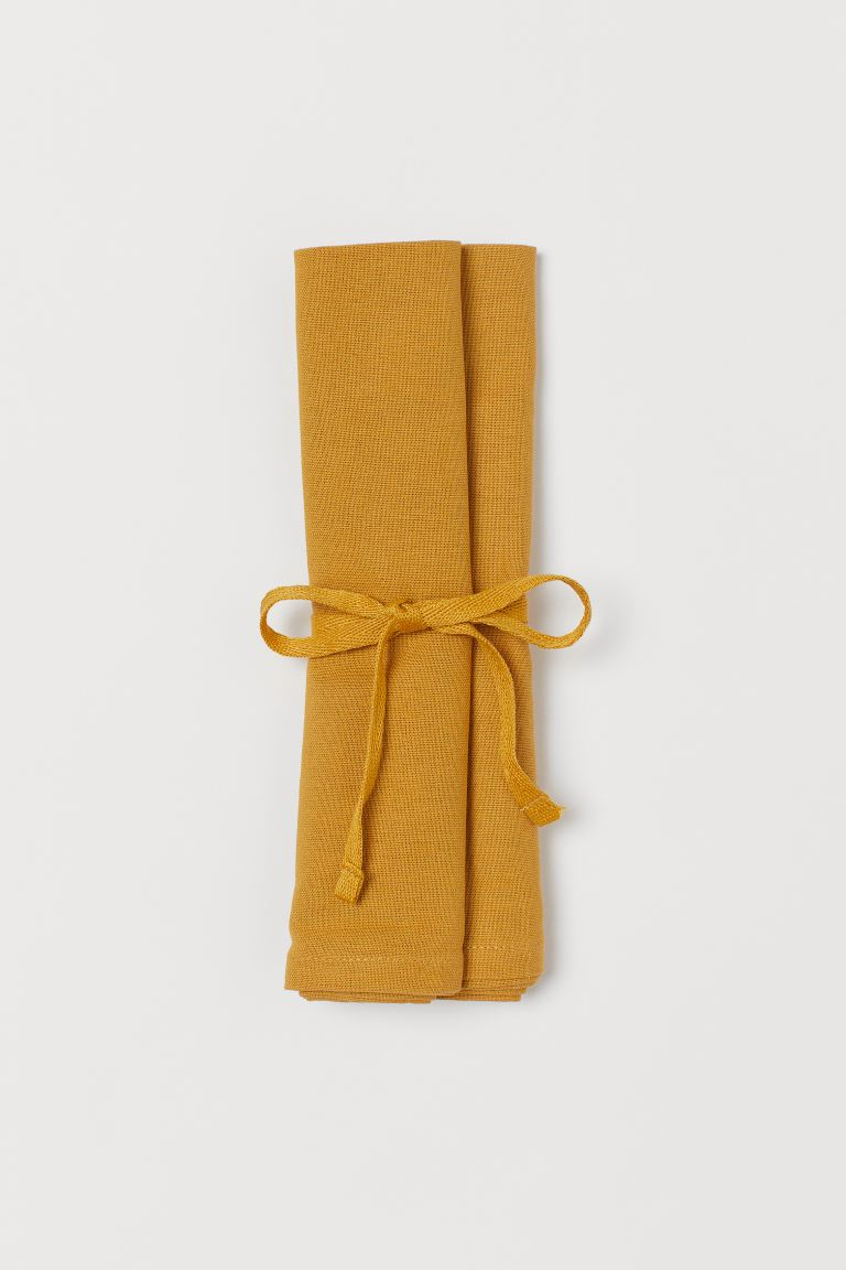 2-pack cotton napkins - Dark yellow - Home All | H&M GB
