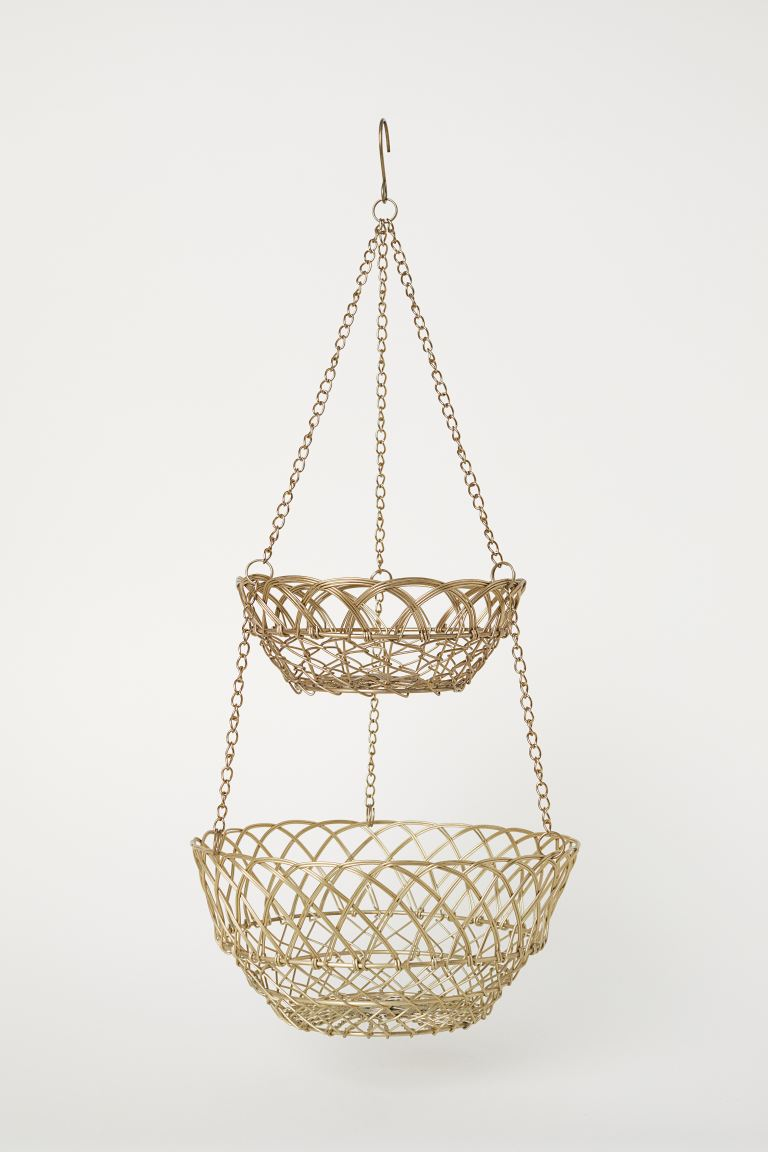 Hanging wire basket - Gold-coloured - Home All | H&M GB