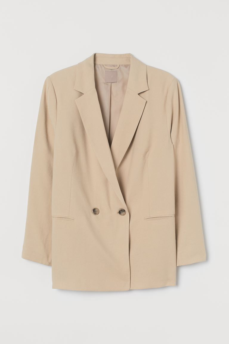 H&M+ Double-breasted blazer - Beige - DAMES | H&M NL