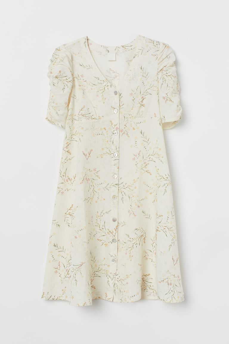 MAMA Linen-blend dress - Cream/Floral - Ladies | H&M