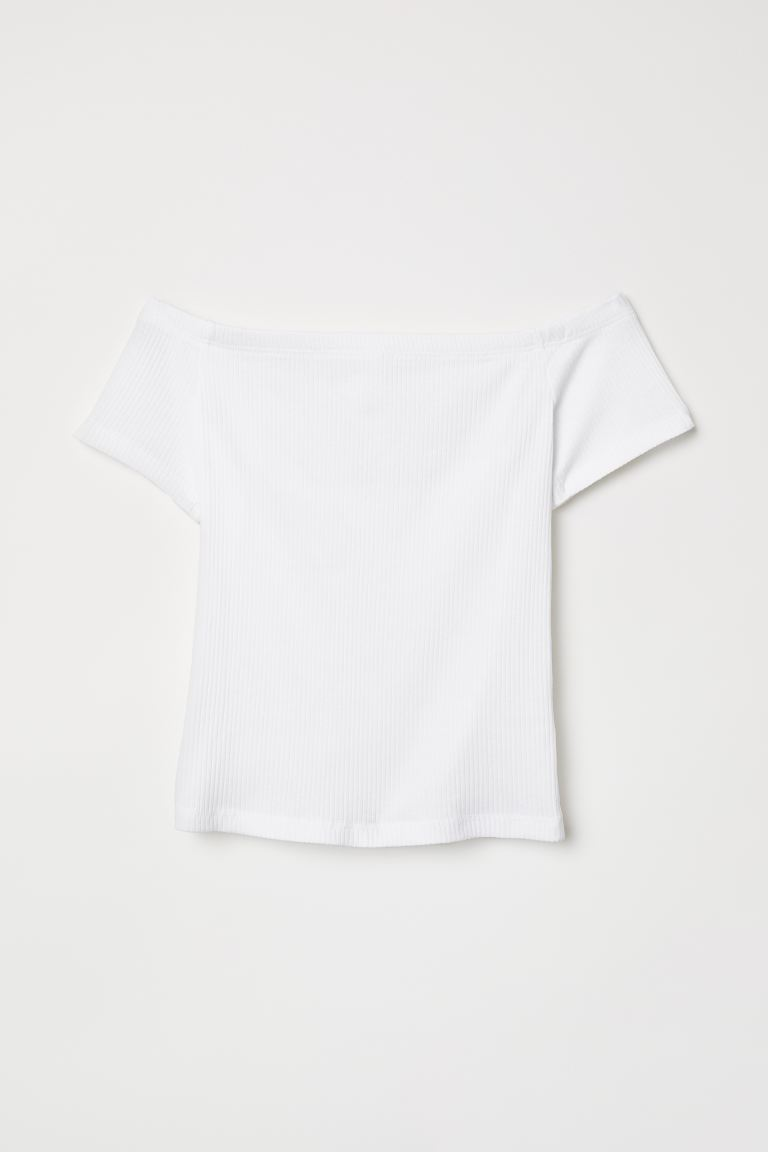 Ribbed off-the-shoulder top - White - Ladies | H&M