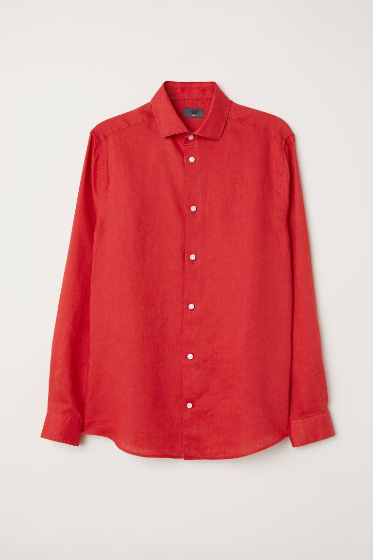 Slim Fit Linen Shirt - Red - Men | H&M US
