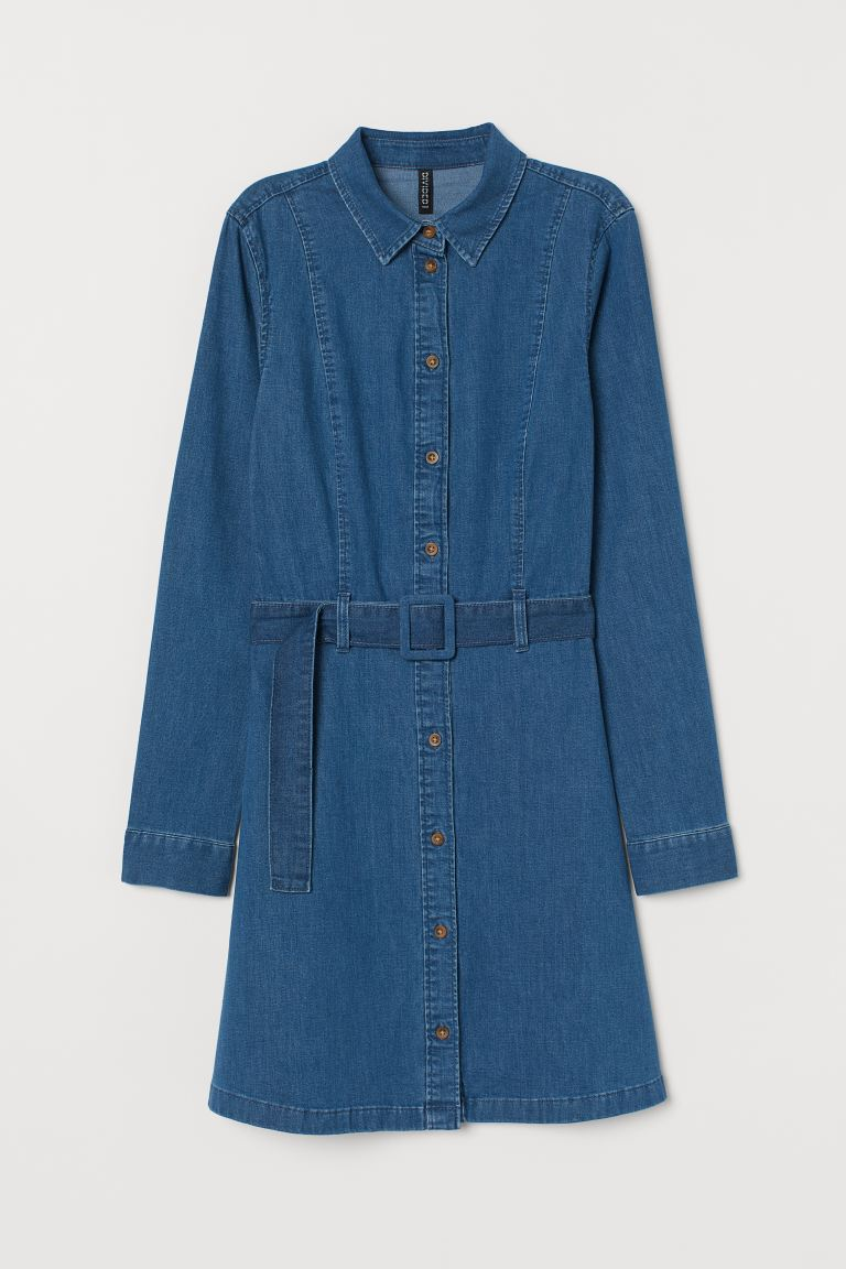 Denim dress with a belt - Denim blue - Ladies | H&M