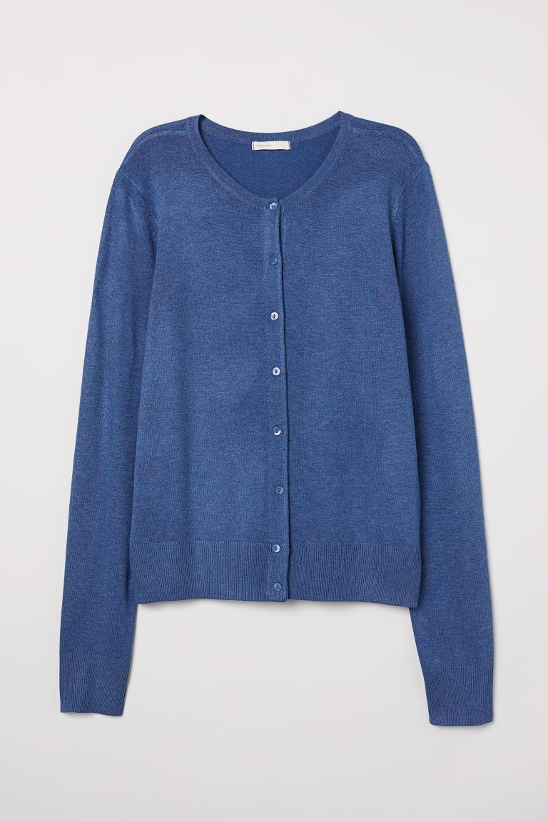 Fine-knit Cardigan - Blue melange - Ladies | H&M US