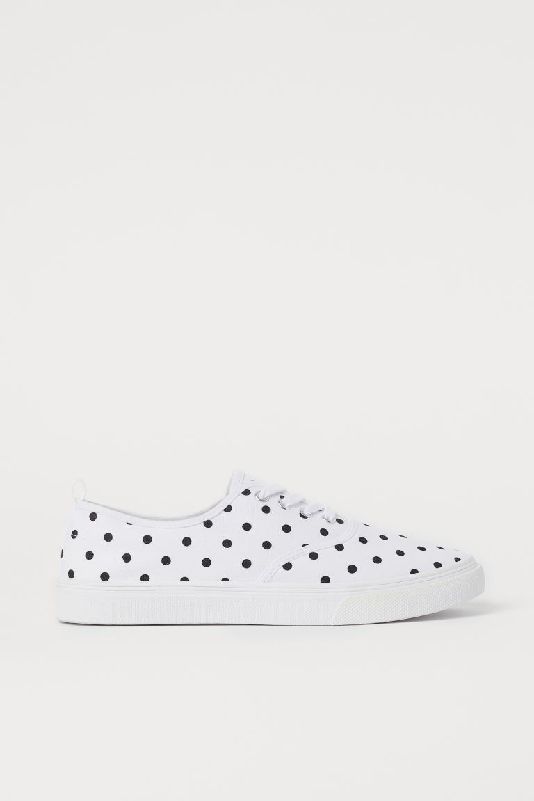 Canvas Sneakers - White/black dotted - Ladies | H&M US