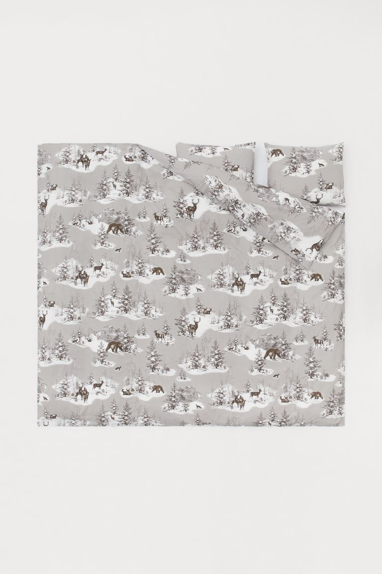 Cotton duvet cover set - Grey/Forest animals - Home All | H&M GB