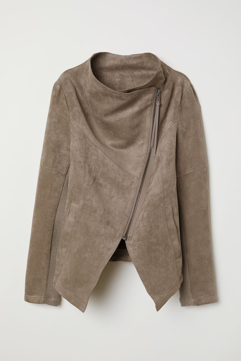 Biker Jacket - Dark taupe - Ladies | H&M US