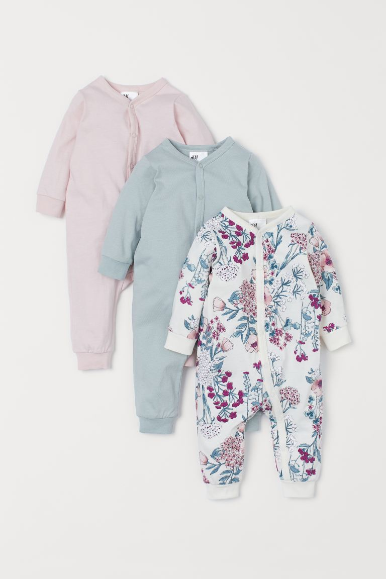 3-pack cotton pyjamas - Light pink/Floral - Kids | H&M