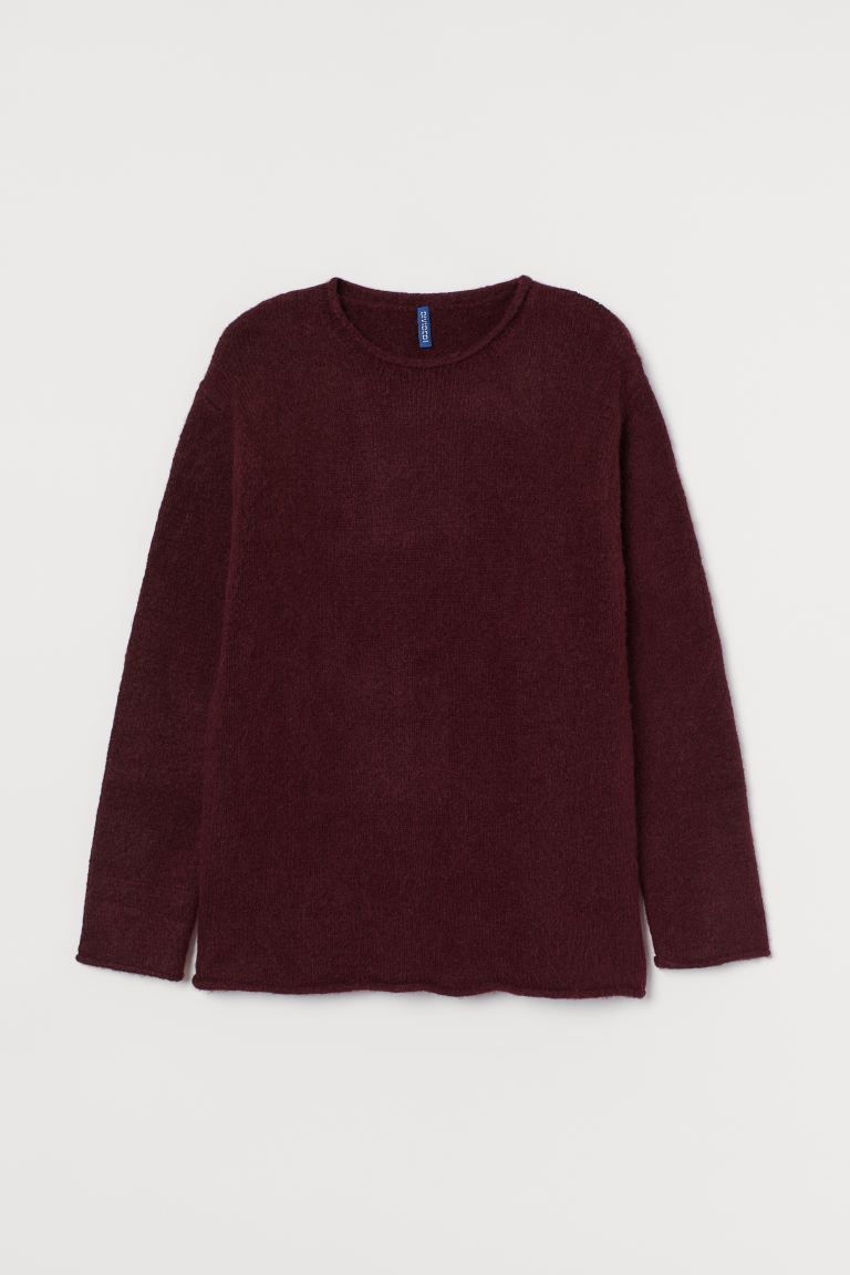 Knitted jumper - Burgundy - Men | H&M