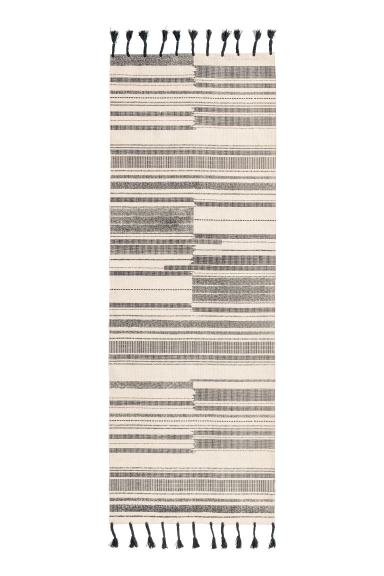 Striped cotton rug - Anthracite grey/Natural white - Home All | H&M GB