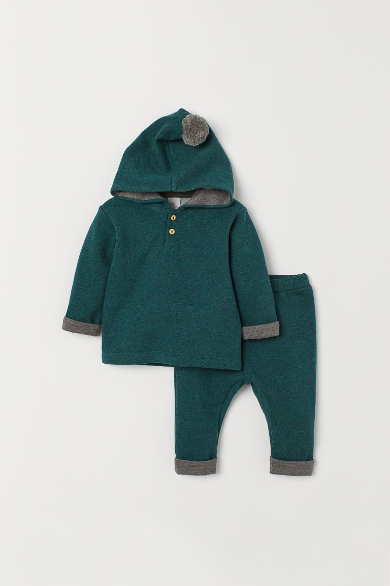 Top and trousers - Dark green marl - Kids | H&M GB