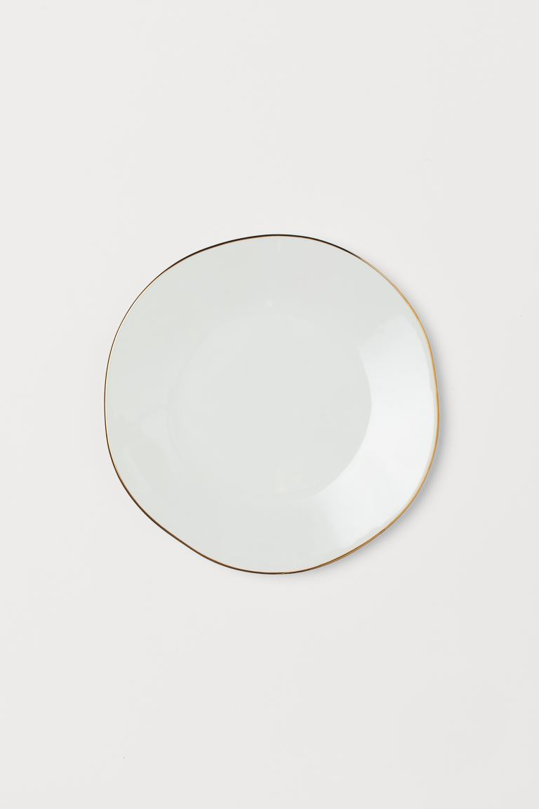 Ceramic plate - White/Gold-coloured - Home All | H&M GB