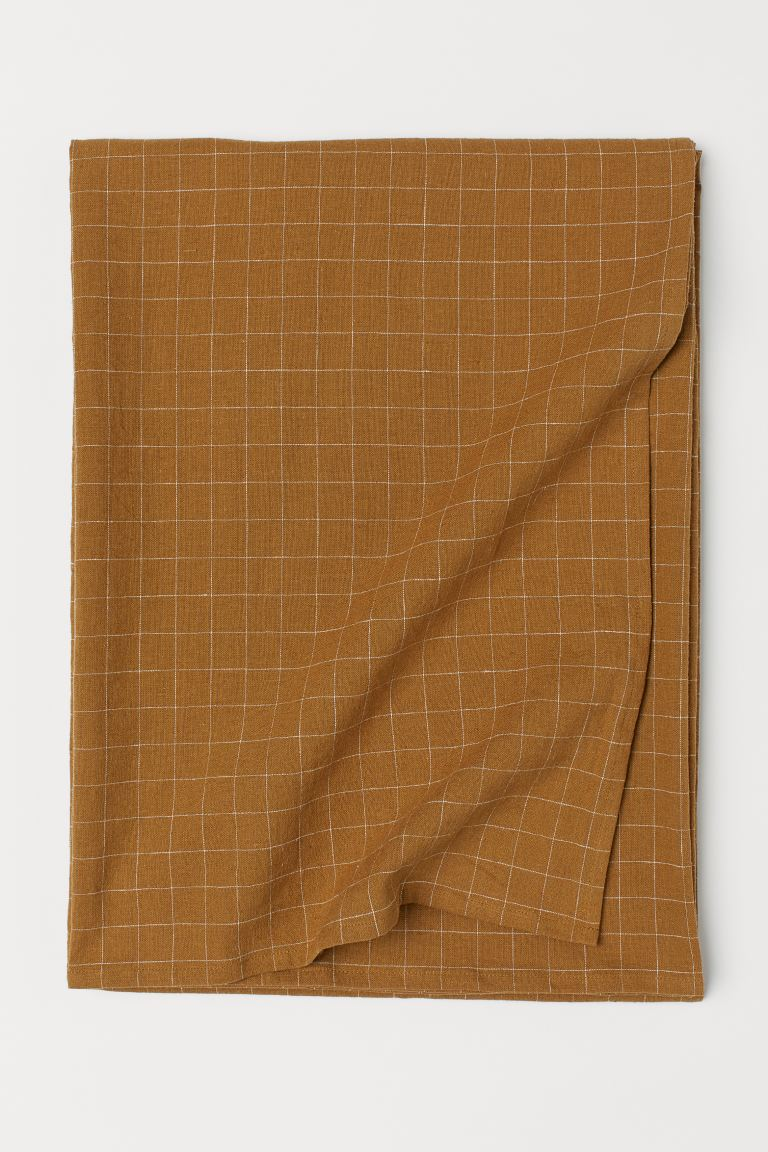Linen tablecloth - Dark mustard yellow - Home All | H&M GB