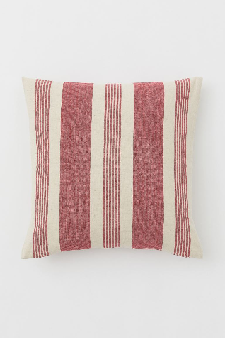Striped Cushion Cover - Light beige/red - Home All | H&M US