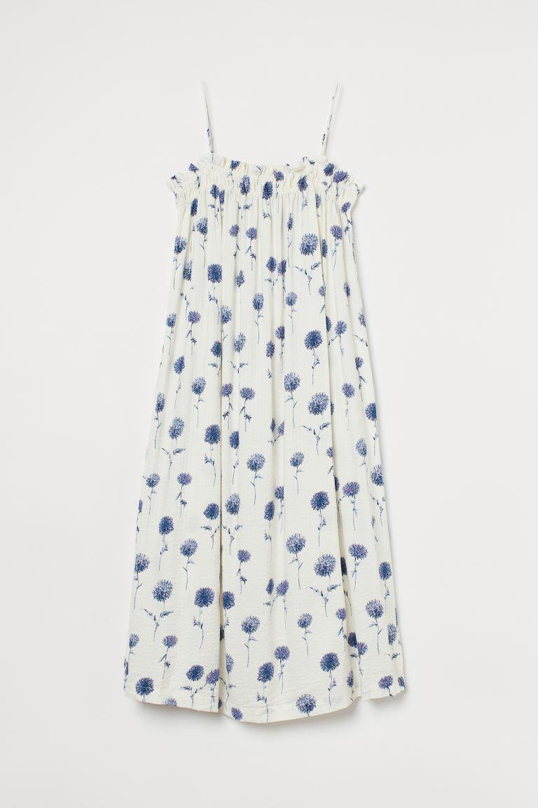 Sleeveless Dress - White/blue floral -