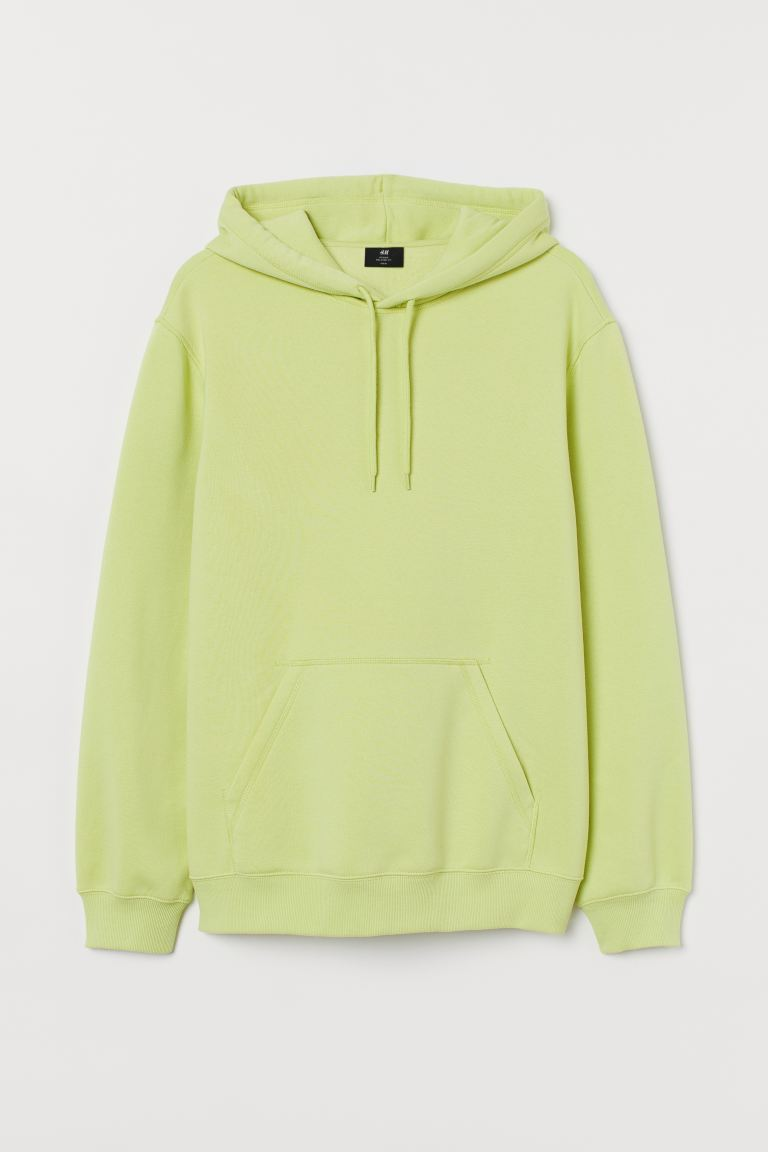 Relaxed Fit Hoodie - Light neon yellow - Men | H&M