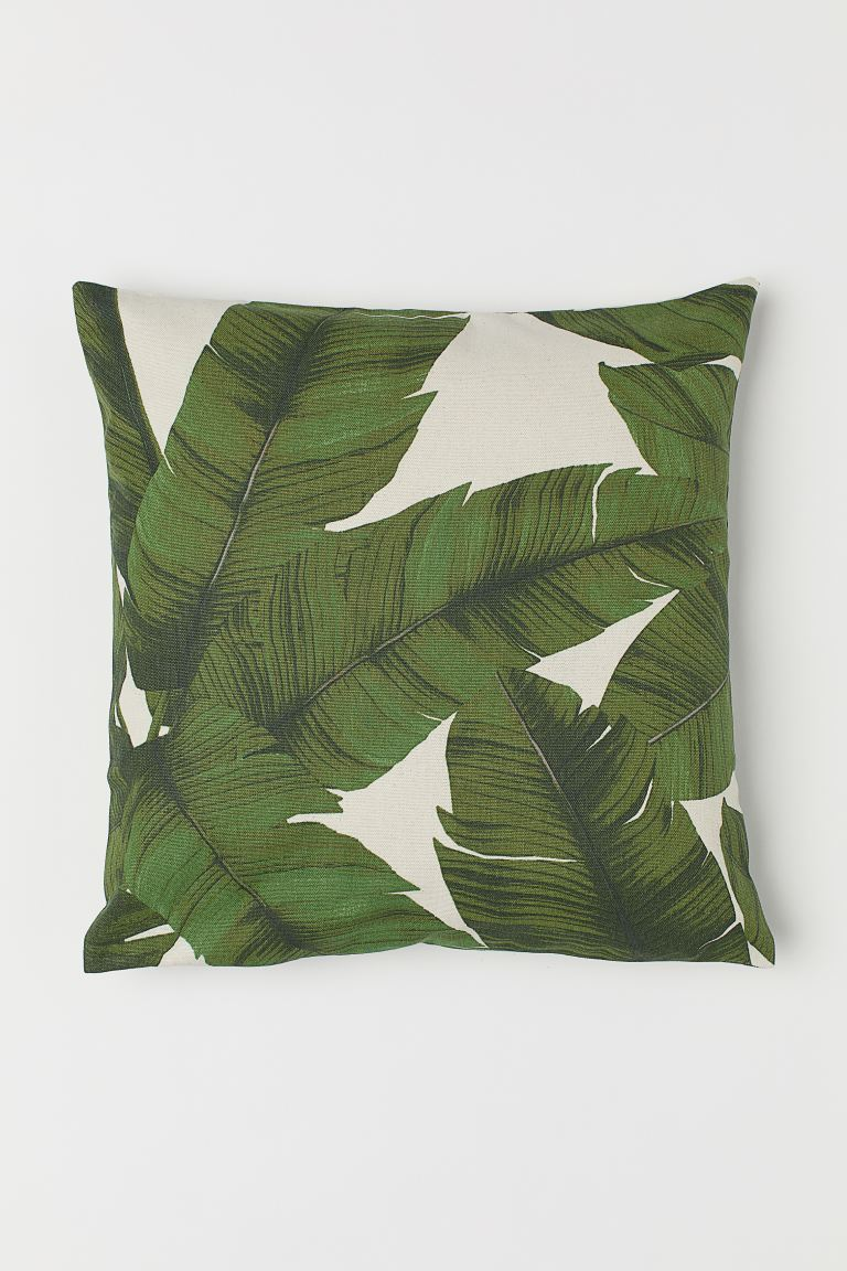 Patterned Cushion Cover - Natural white/leaf - Home All | H&M US