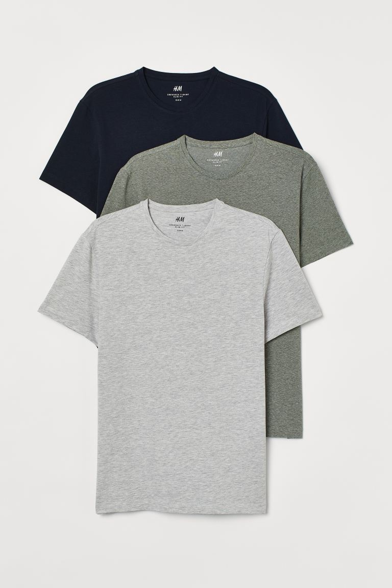3-pack de playeras Slim Fit - Verde caqui/Gris jaspeado/Azul - Men | H&M US