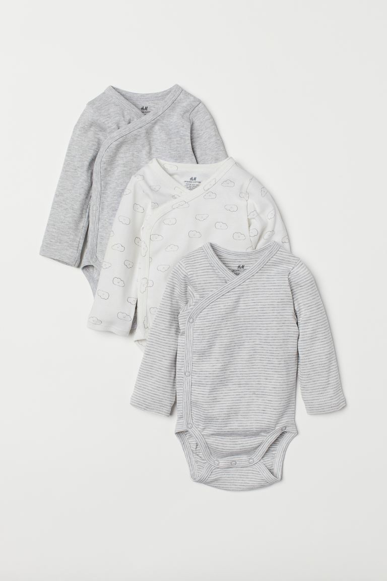 3-pack long-sleeved bodysuits - White/Clouds - Kids | H&M GB