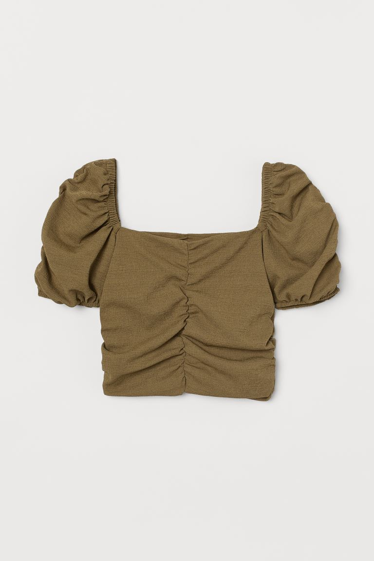 Draped top - Olive green - Ladies | H&M