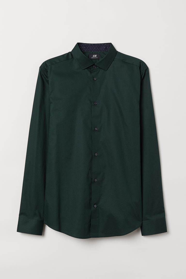 Premium cotton shirt - Dark green - Men | H&M IN