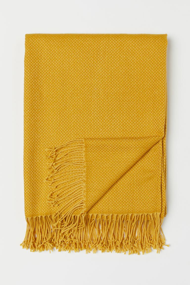 Jacquard-weave blanket - Yellow - Home All | H&M GB