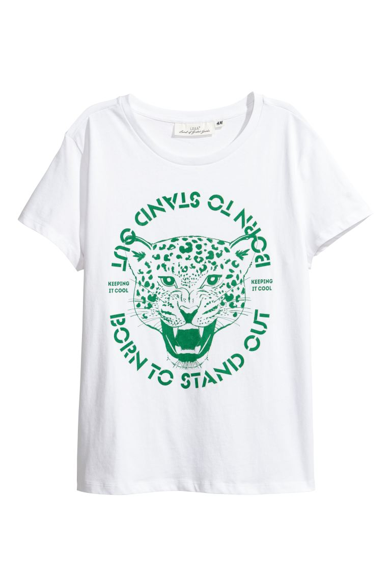 Printed T-shirt - White - Ladies | H&M GB