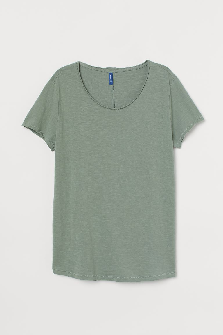 Raw-edge T-shirt - Dusky green - Men | H&M CA