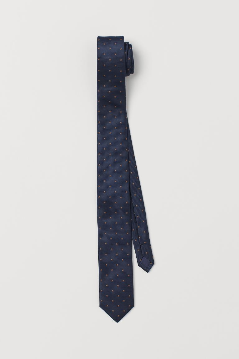 Patterned tie - Dark blue/Spotted - Men | H&M