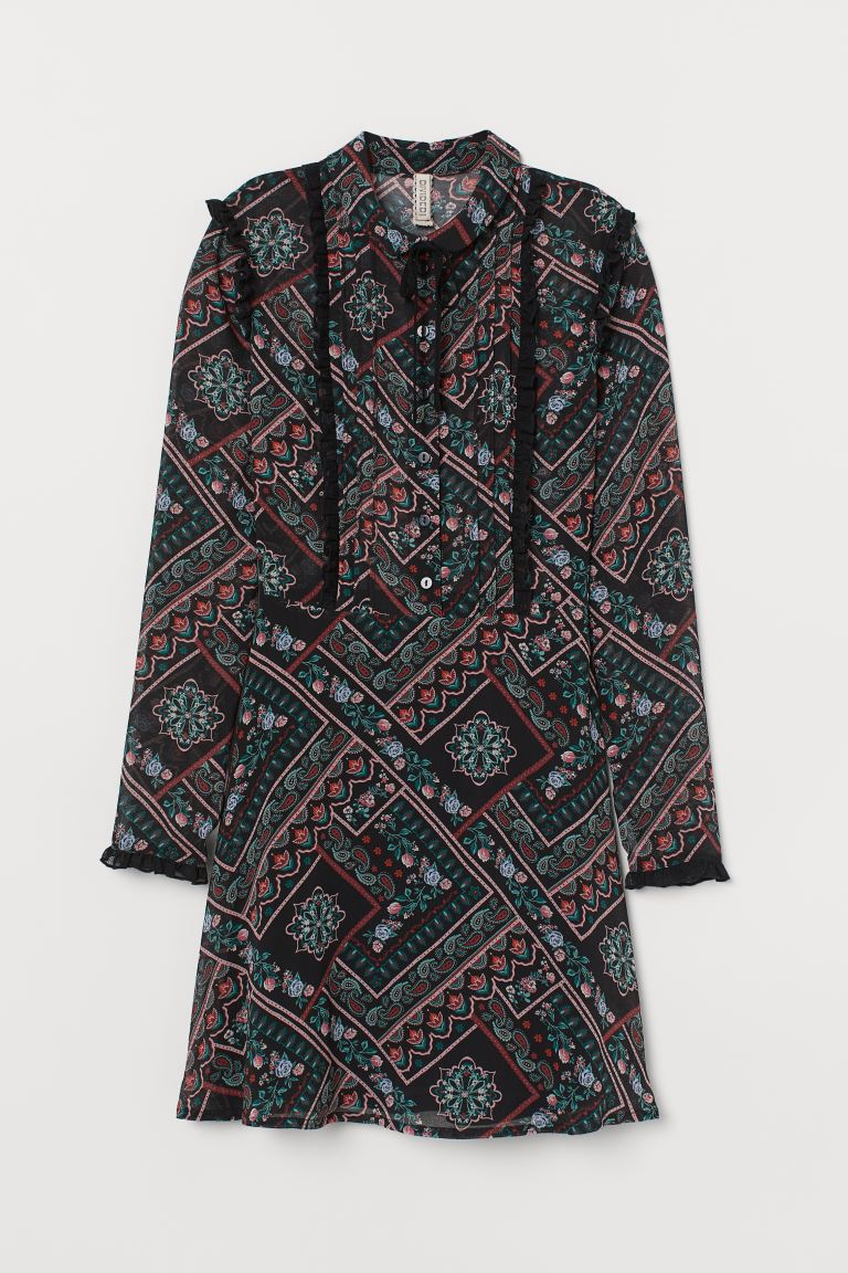 Ruffled Chiffon Dress - Black/paisley-patterned - Ladies | H&M US