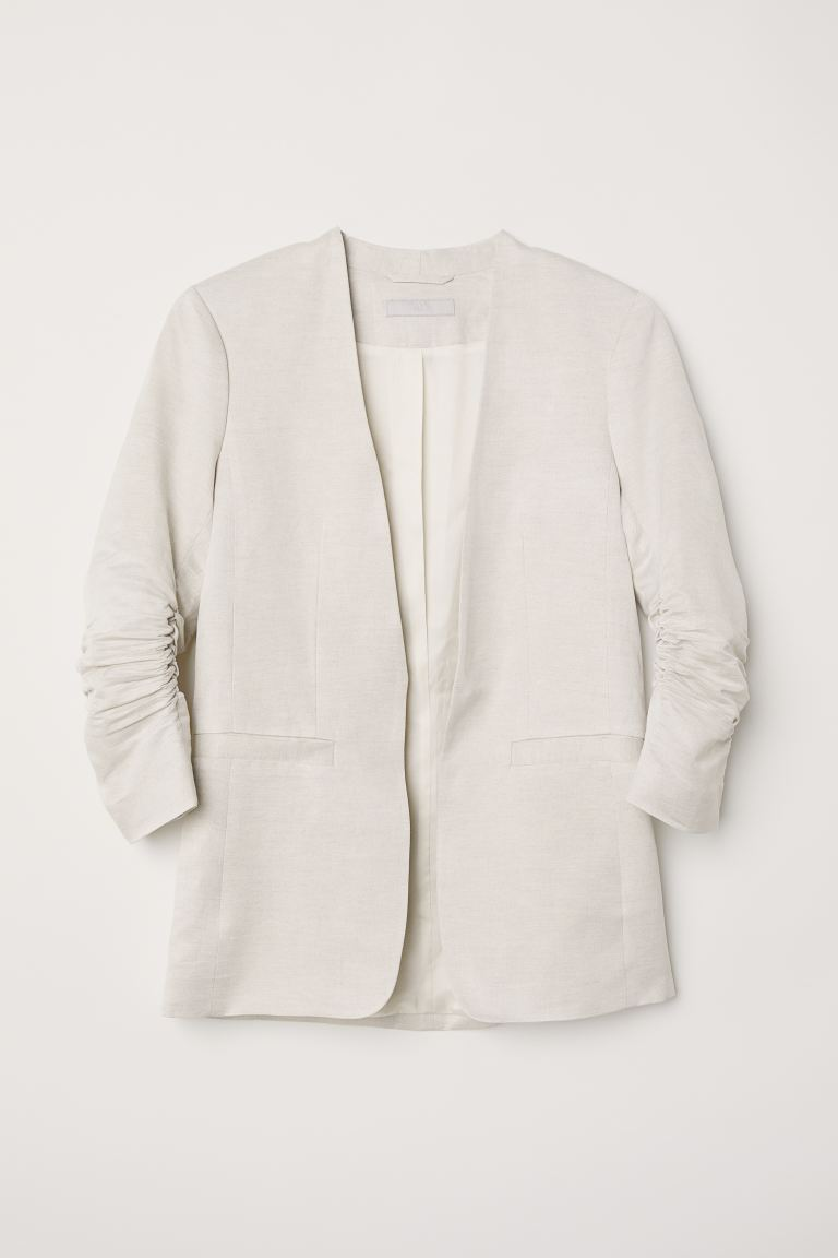 Linen-blend jacket - Light grey - Ladies | H&M GB
