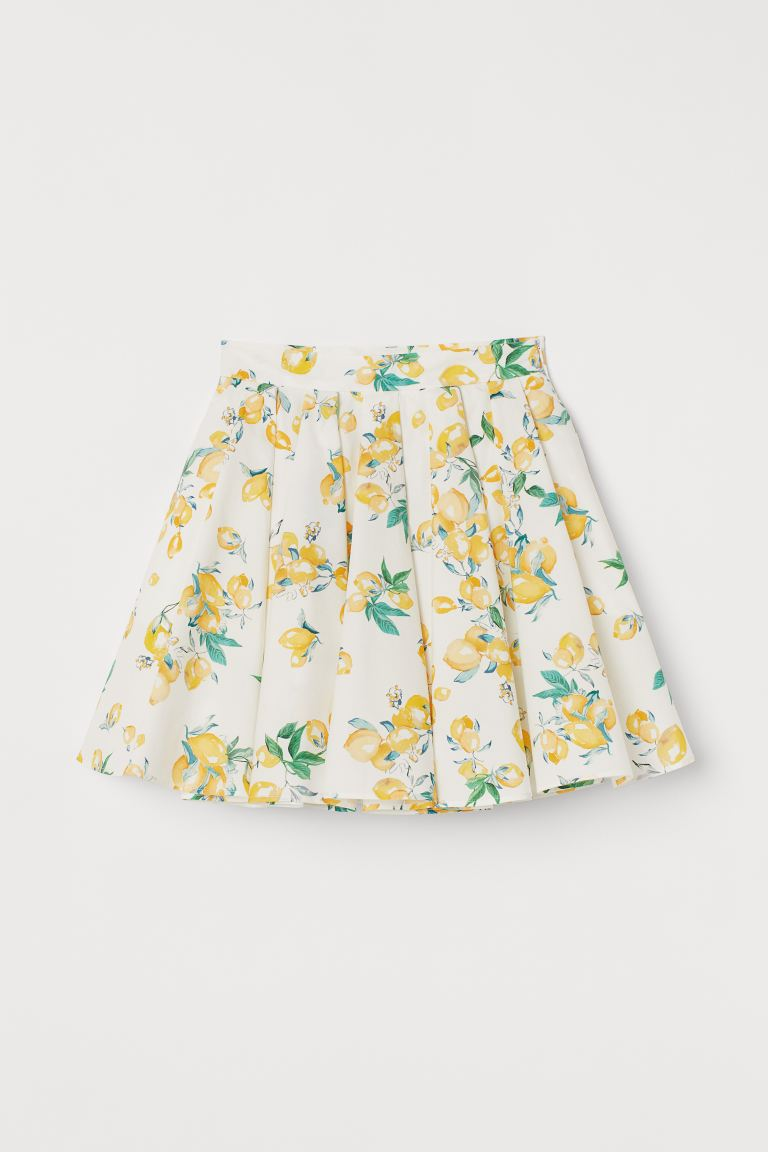 Cotton Circle Skirt - White/lemons - Ladies | H&M US