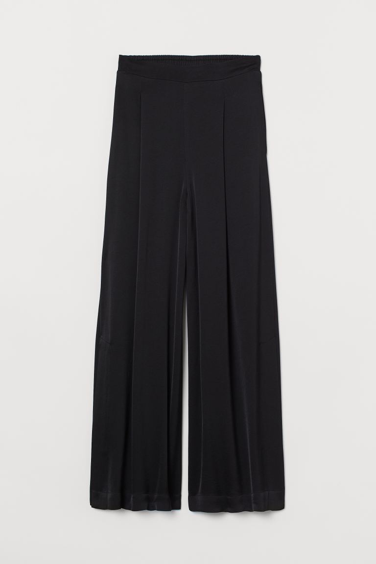 Pantaloni ampi con spacchi - Nero - DONNA | H&M IT