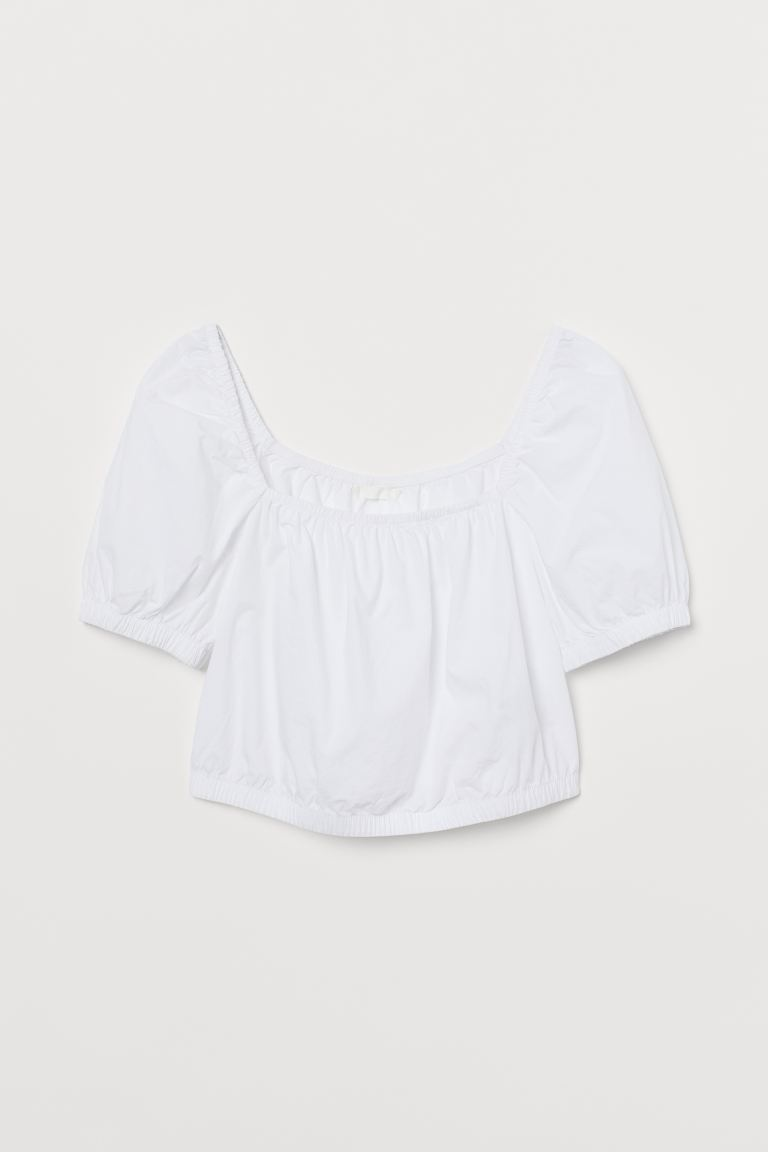 Top corto de algodón - Blanco - Ladies | H&M US