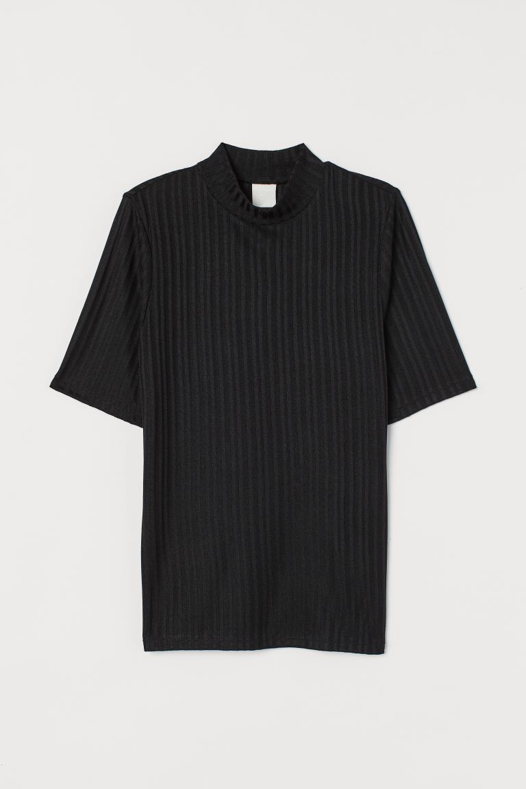 Ribbed top - Black - Ladies | H&M GB