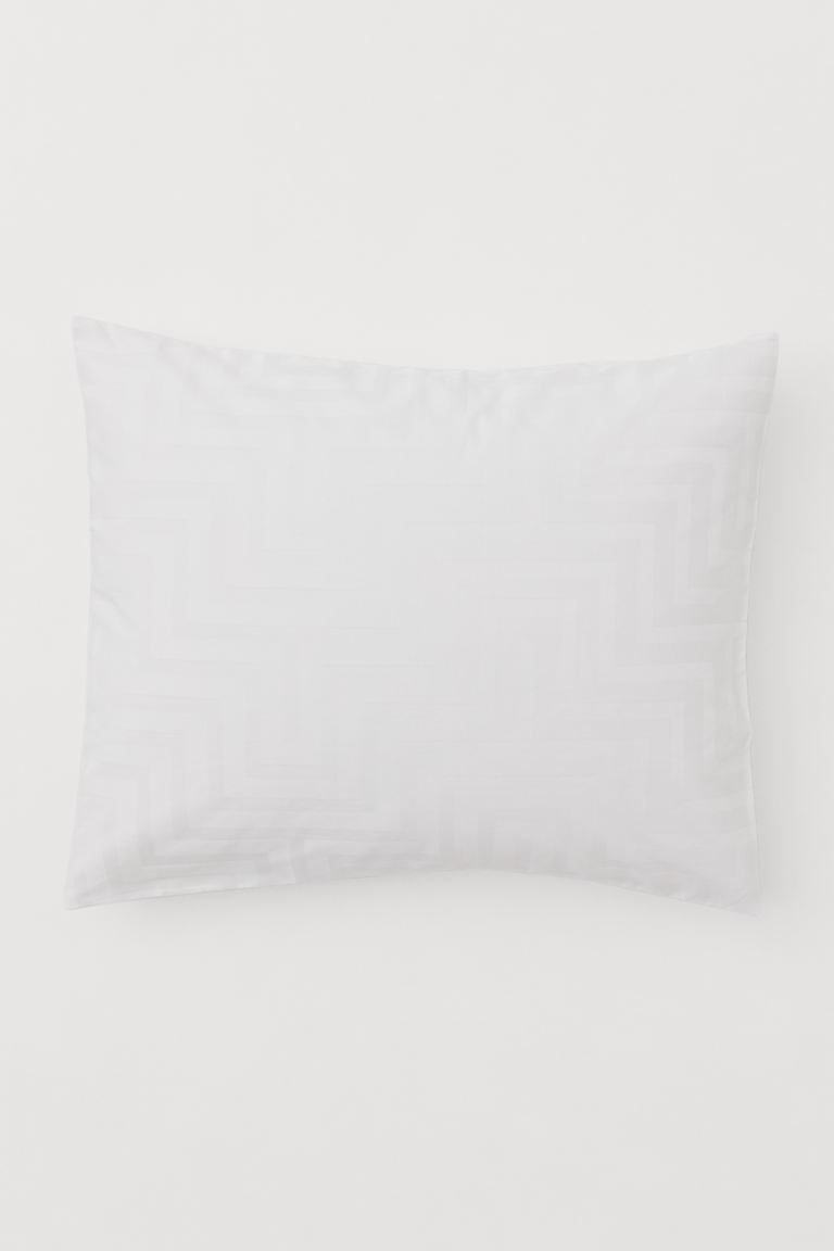 Cotton satin pillowcase - White/Patterned - Home All | H&M GB