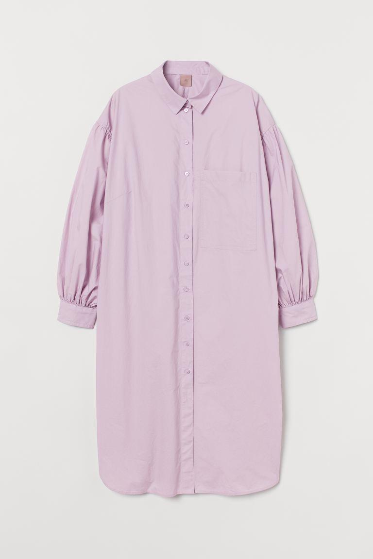 H&M+ Cotton shirt dress - Light purple - Ladies   H&M GB