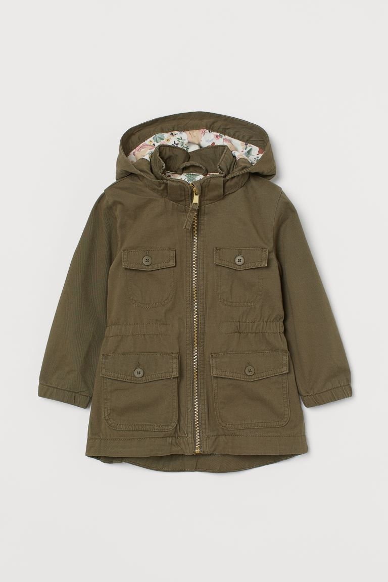 Cotton Twill Parka - Dark khaki green - Kids | H&M US