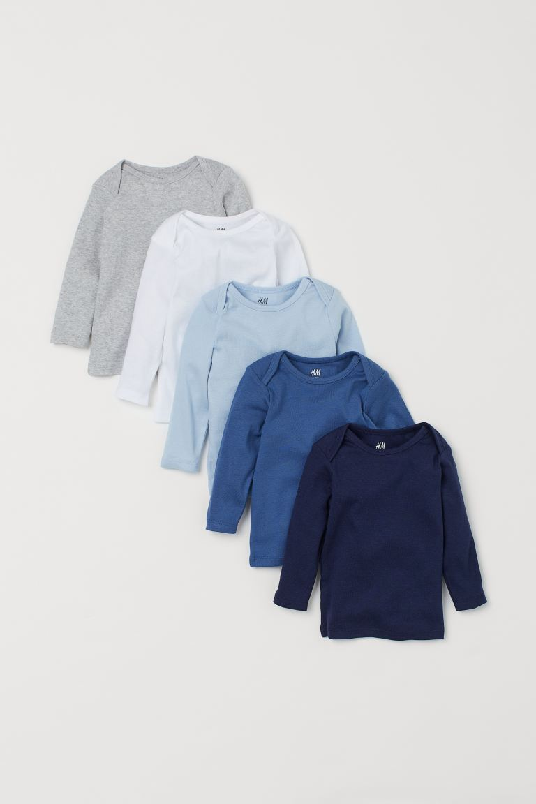 5-pack jersey tops - Navy blue/Multicoloured - Kids | H&M GB
