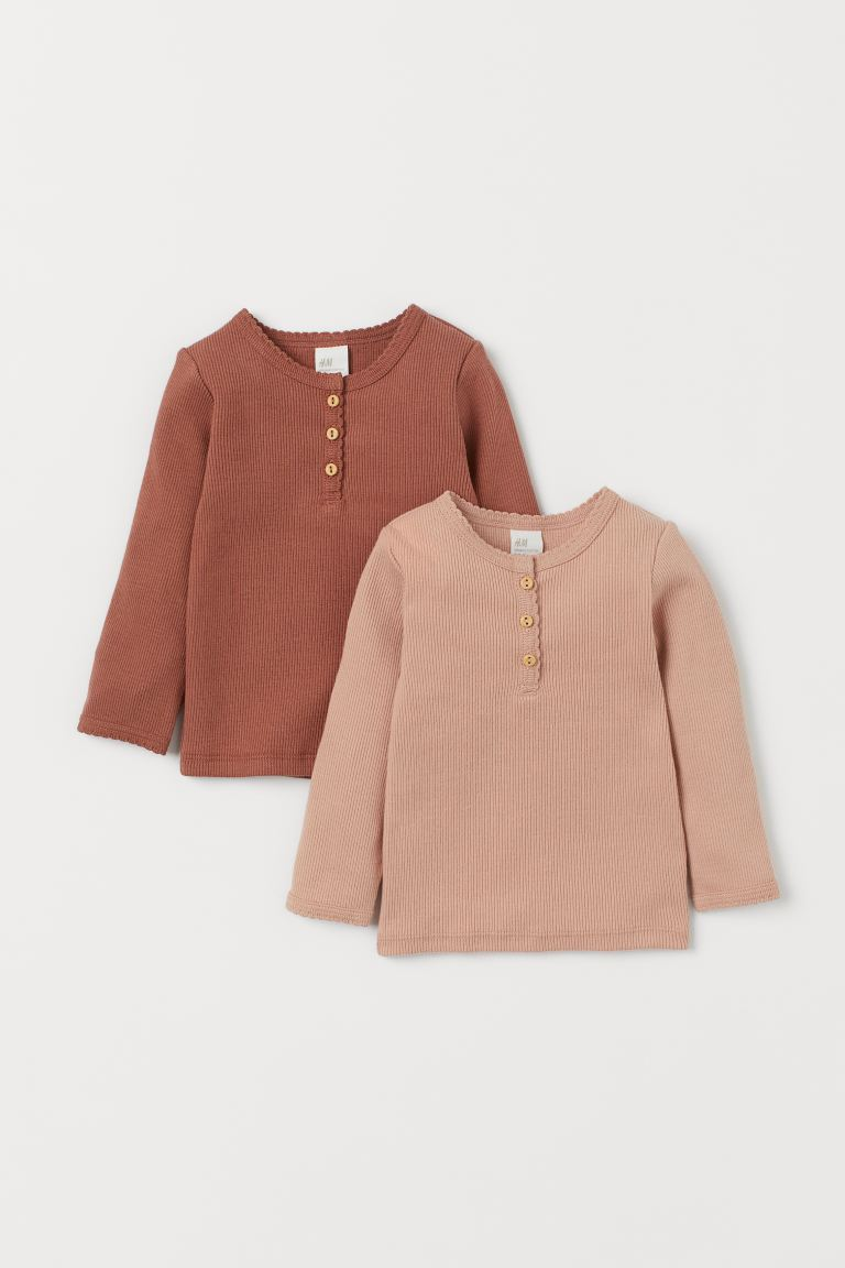 2-pack long-sleeved tops - Dark beige/Powder beige - Kids | H&M GB