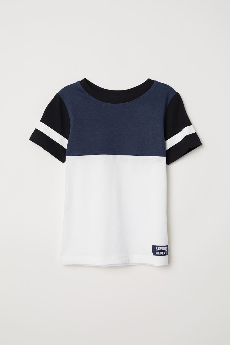 Color-block T-shirt - Dark blue/color-block - Kids | H&M US