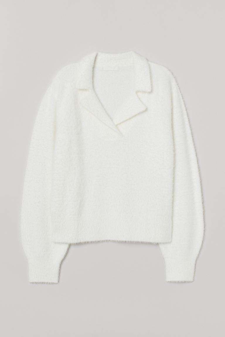 Collared Knit Sweater - White - Ladies | H&M CA