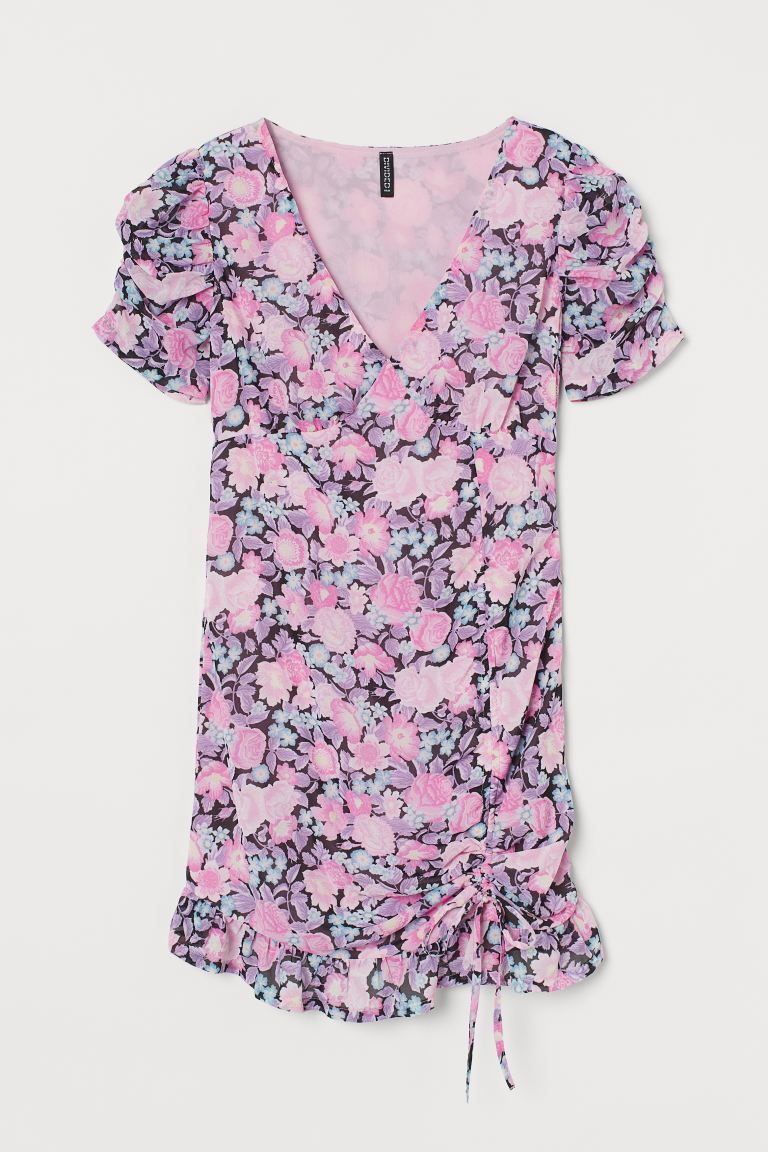 Draped chiffon dress - Pink/Floral - Ladies | H&M GB