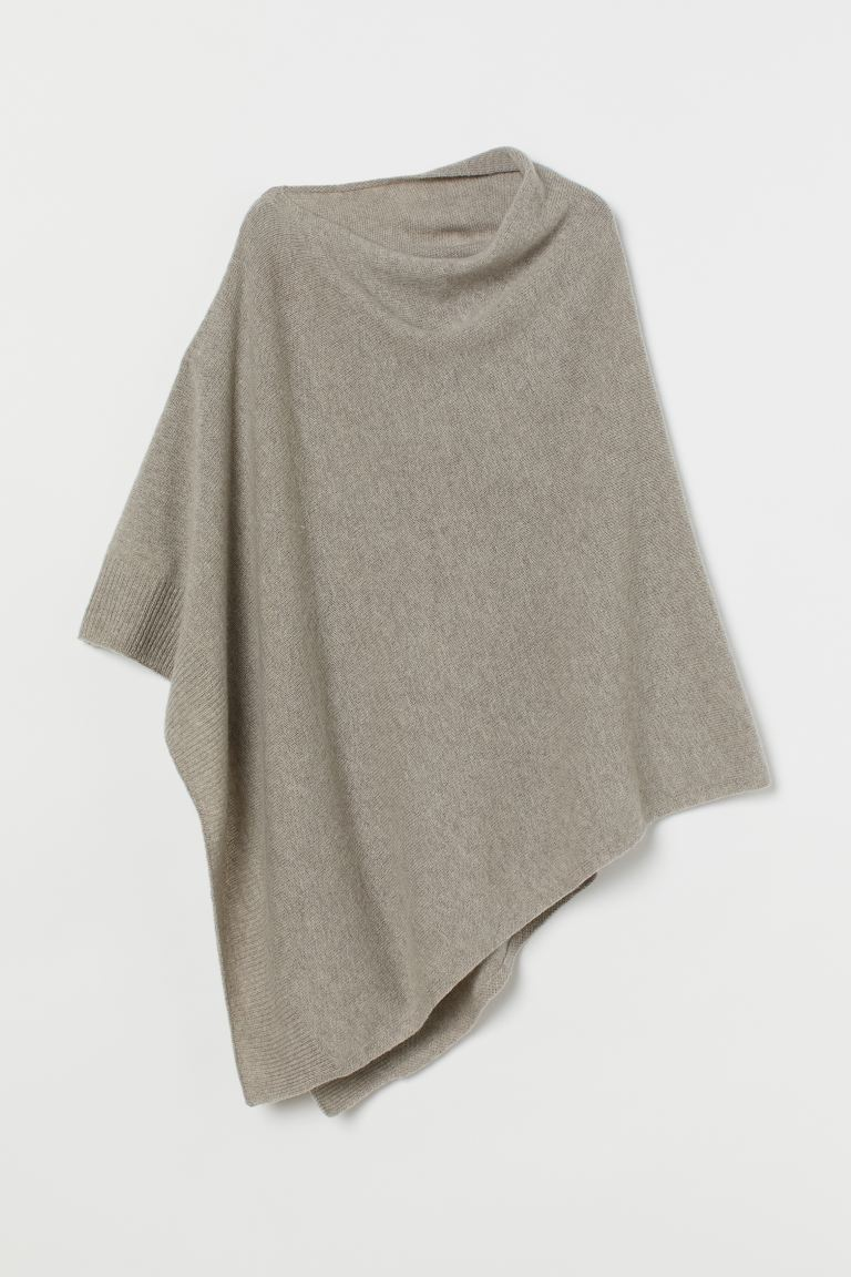 Fine-knit Wool Poncho - Taupe - Ladies | H&M US
