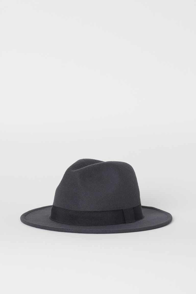 Felted hat - Dark blue-grey - Men | H&M