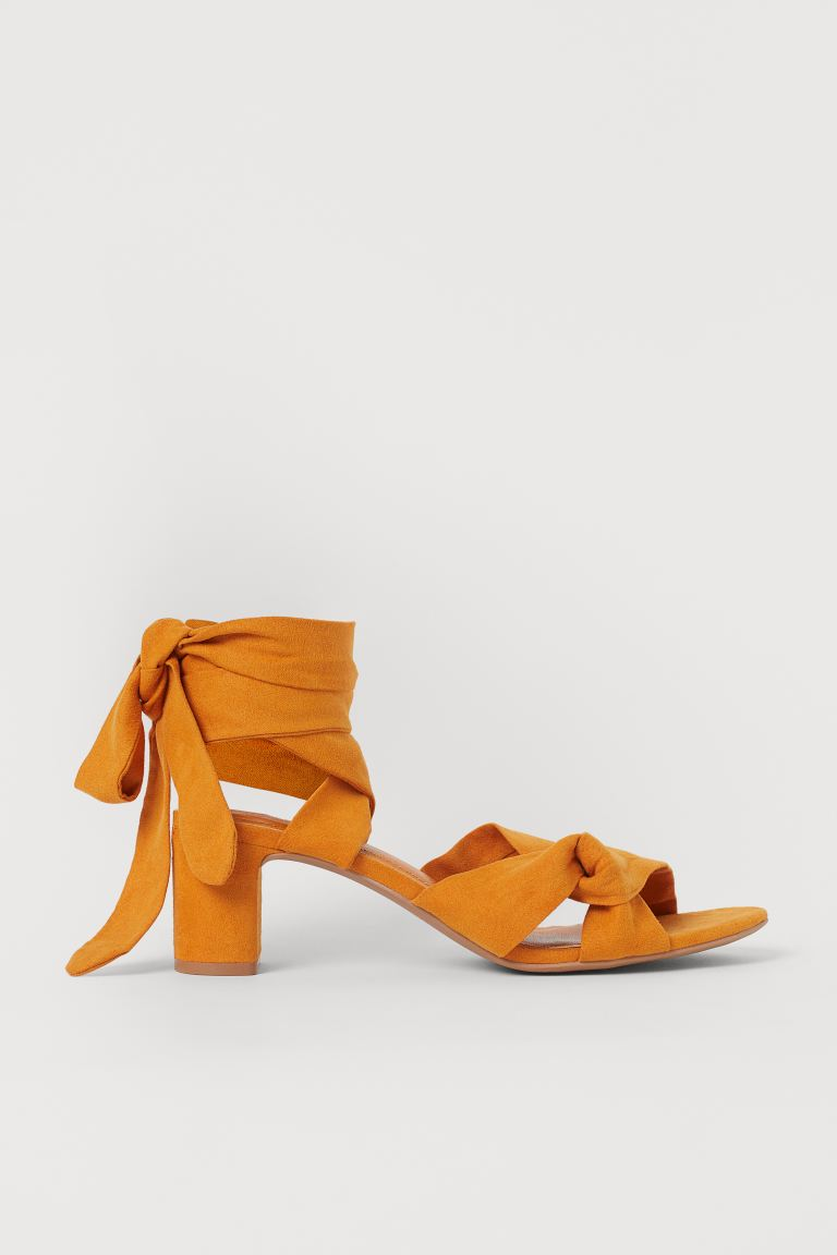 Sandaletten mit Bindebändern - Orange - Ladies | H&M DE