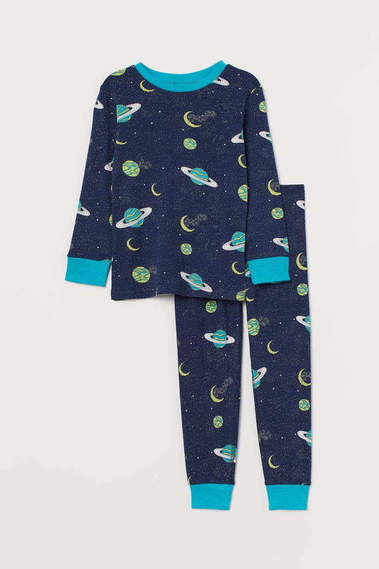 Jersey pyjamas - Dark blue/Space - Kids | H&M