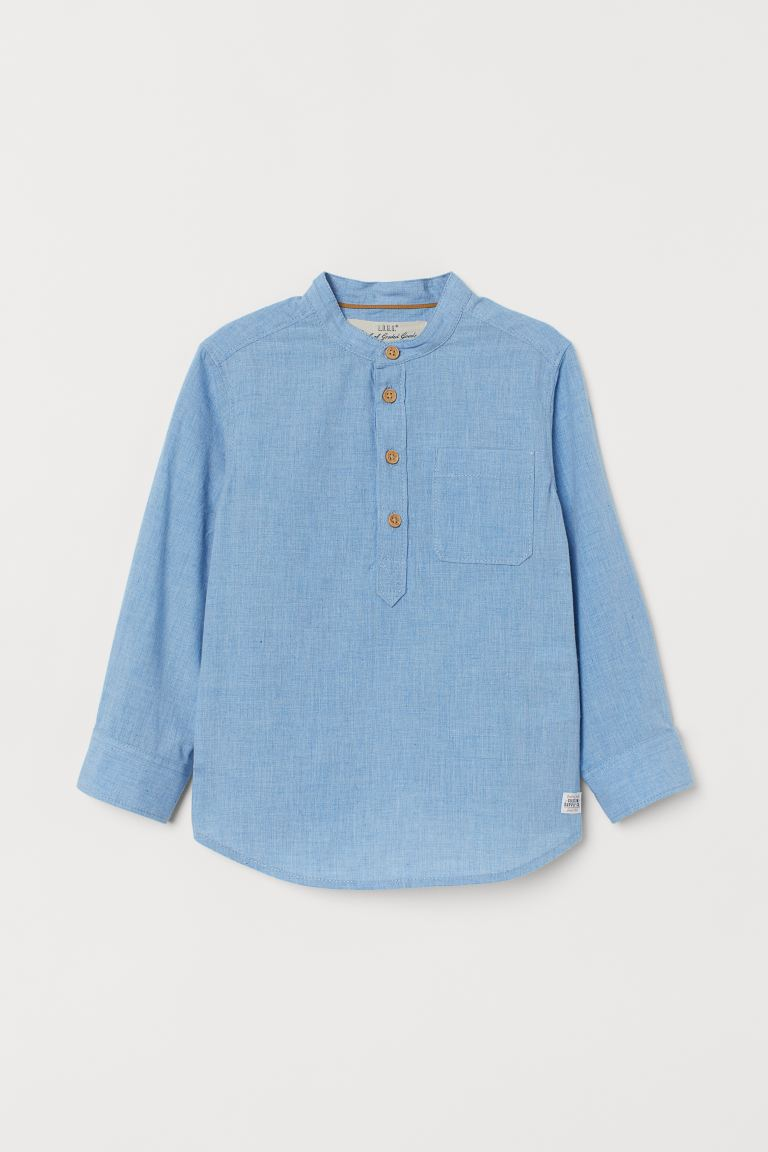Grandad Shirt - Light blue marle - Kids | H&M AU